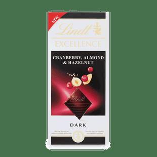EXCELLENCE étcsokoládé vörösáfonyával, mandulával és mogyoróval 100g