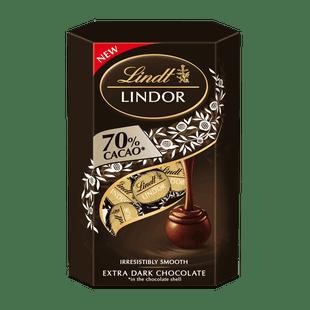 LINDOR 70% kakaótartalmú étcsokoládé parlinék lágyan olvadó töltelékkel 200g