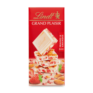 Lindt Grand Plaisir fehércsokoládé mandulával és cukrozott eperrel 150g