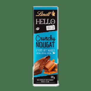 Lindt HELLO mogyorókrémes, mogyoró grillázsos tejcsokoládé nápolyi darabokkal 100 g