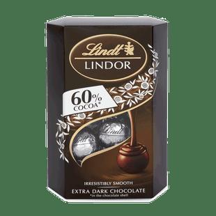 LINDOR 60% kakaótartalmú étcsokoládé pralinék lágyan olvadó töltelékkel 200g