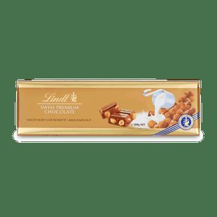 Lindt Swiss Premium tejcsokoládé pörkölt egész mogyoróval 300g