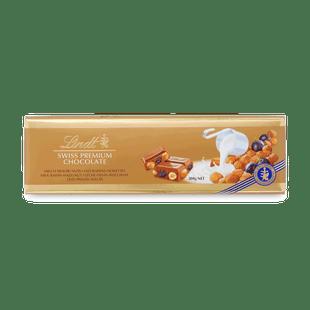 Lindt Swiss Premium tejcsokoládé mazsolával, egész mogyoróval és mandulával 300g