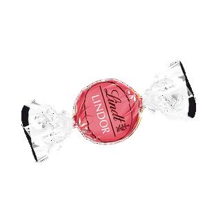 LINDOR fehércsokoládés-epres trüffel lágyan olvadó tejszínes töltelékkel